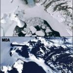 The eastern side of the Ross Ice Shelf, Ross Island, Koettlitz Glacier, Ferrar Glacier.