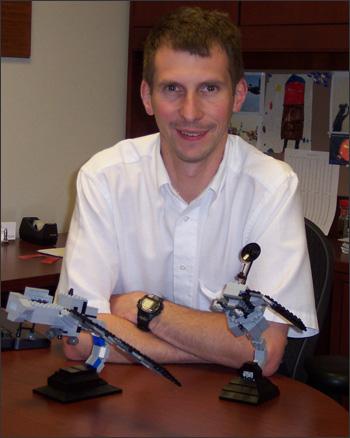 Creator Tom Hill with his Landsat 7 (left) and Landsat 5 (right) LEGO models.