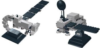 Landsat 7 (left) and Landsat 5 (right) as LEGO design drawings.