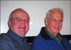 Landsat 7 Project Scientist Darrel Williams with early Landsat engineer, Art Chapman