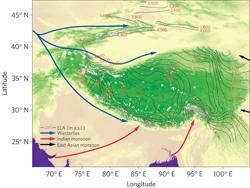 Precipitation patterns of Tibetan Plateau