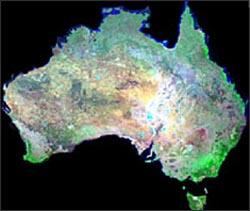 Landsat GeoCover mosaic of Australia.