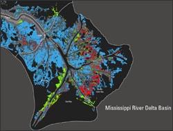 map of Mississippi River Delta