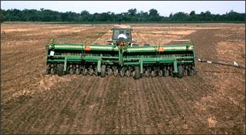 A farmer tending his field.