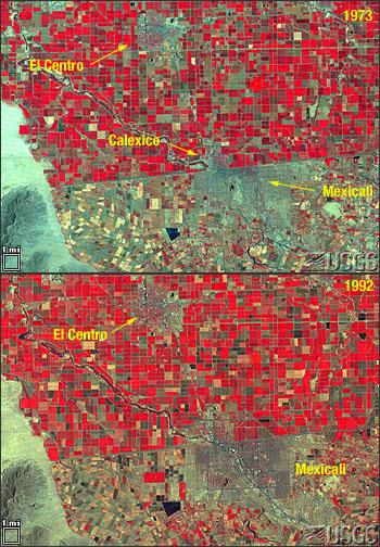 false-color infrared image of U.S./Mexico border