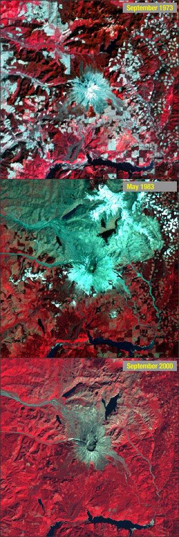 False-color infrared images of Mt. St. Helens