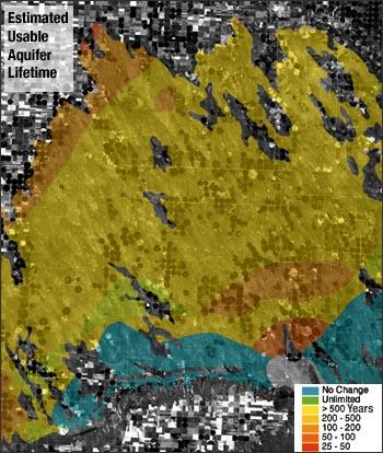 Estimated usable aquifer lifetime of the High Plains Aquifer on the Nebraska/Colorado border overlayed on a Landsat image.