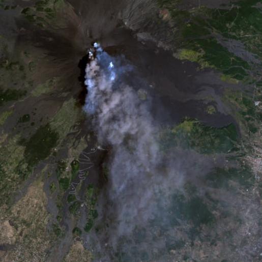 Mount Etna, Natural color Landsat image
