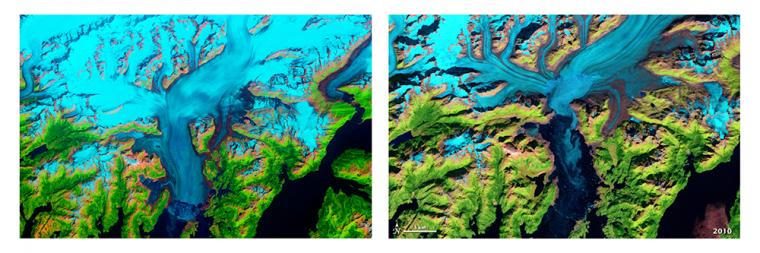 Landsat images of Columbia Glacier in Alaska