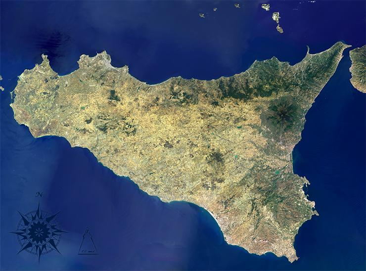 Landsat 8 image of Sicily