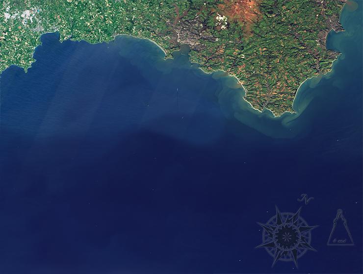 Landsat 8 image of the southwest coast of England