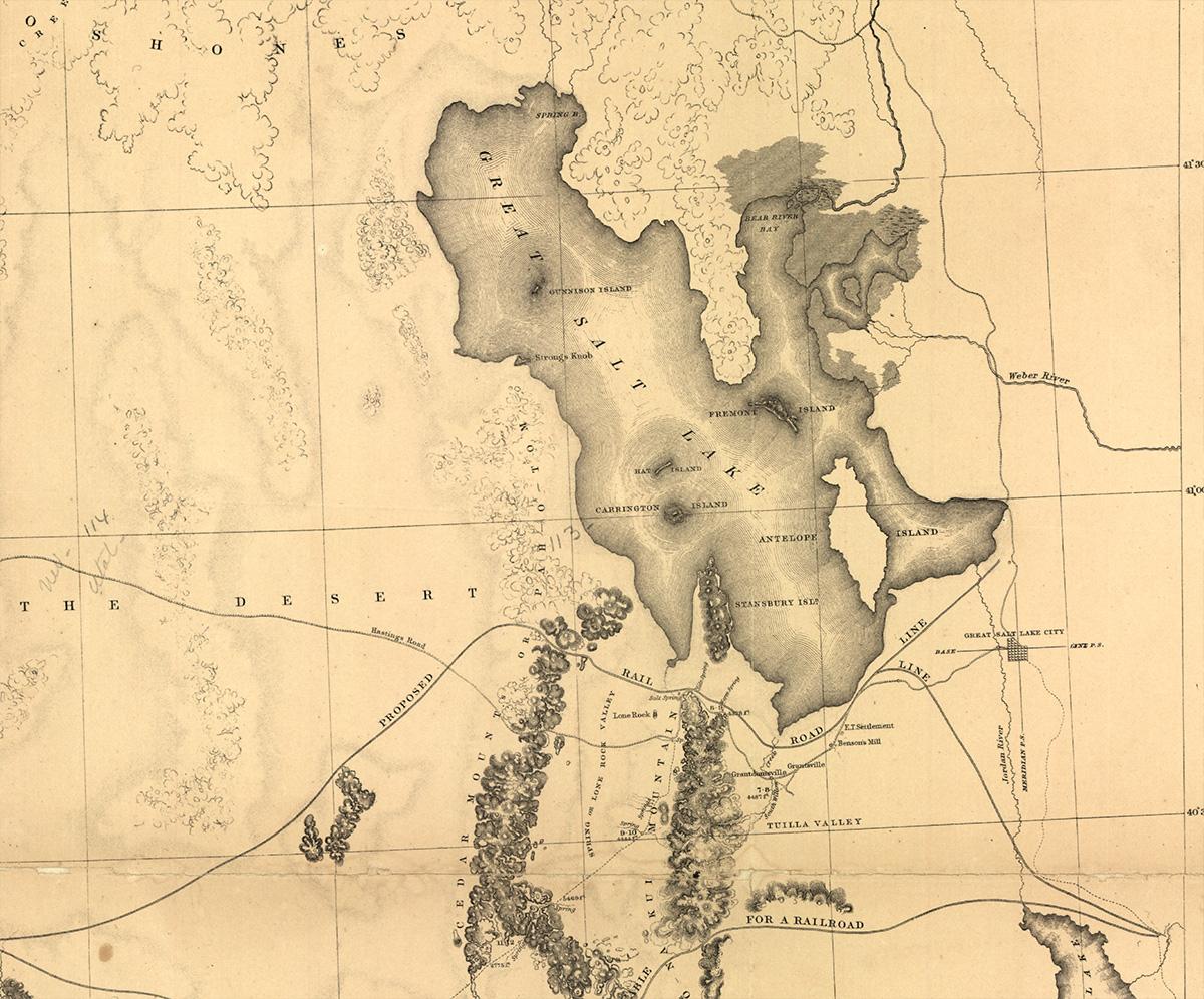 Frederick Egloffstein map of Great Salt Lake 1859