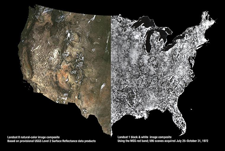 Landsat mosaics of U.S.