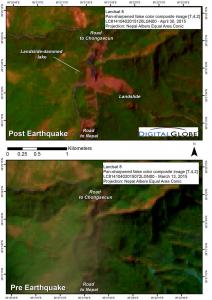 Landsat image of blocked road