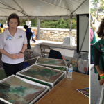 visitors look at Landsat image cubes