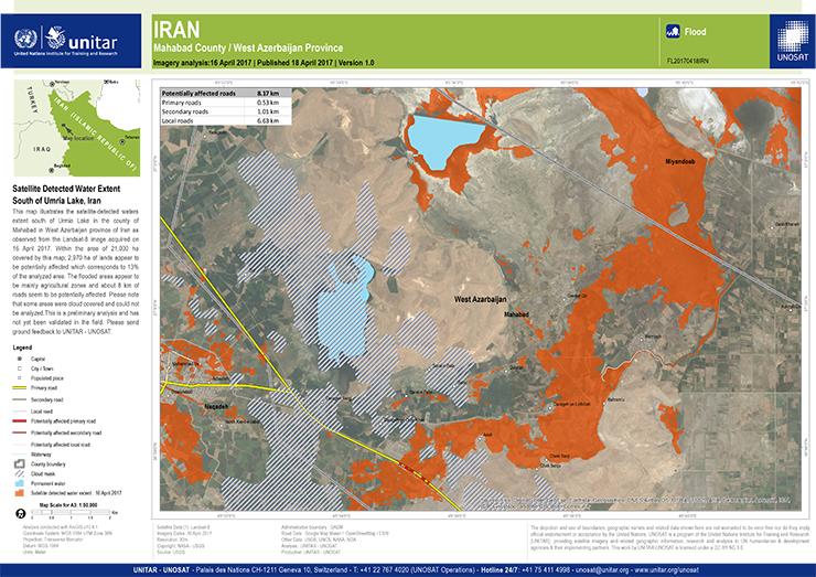 flood waters south of Lake Urmia