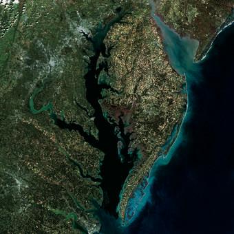 2014 Landsat mosaic of the Chesapeake