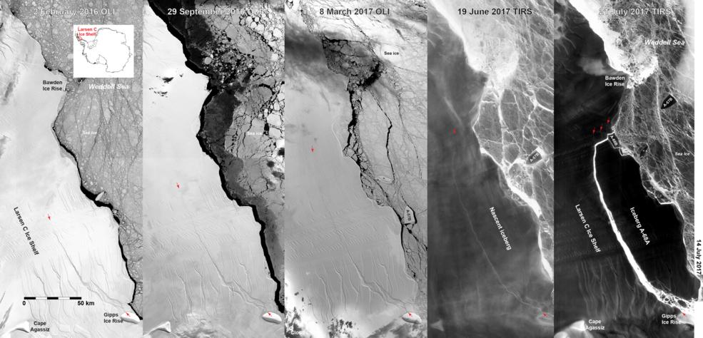 progression of Larsen C iceberg formation