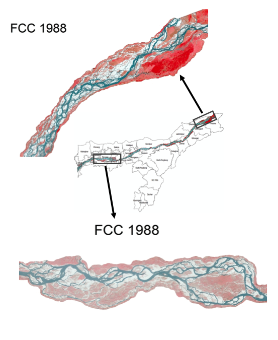 change in Brahmaputra River islands, 1988-2018
