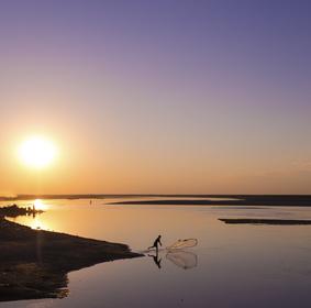 Brahmaputra River at sunset