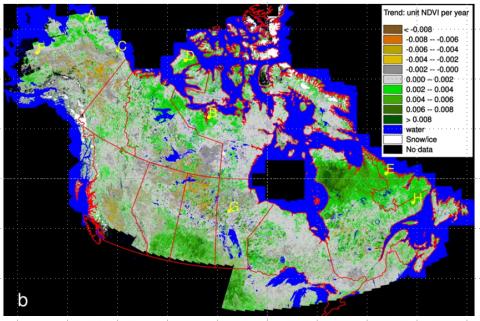 greenness trend map Alaska+Canada