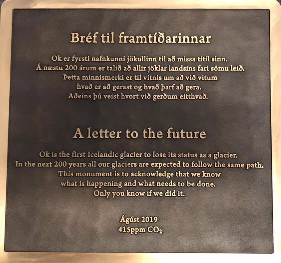 Ok Glacier plaque of remembrance