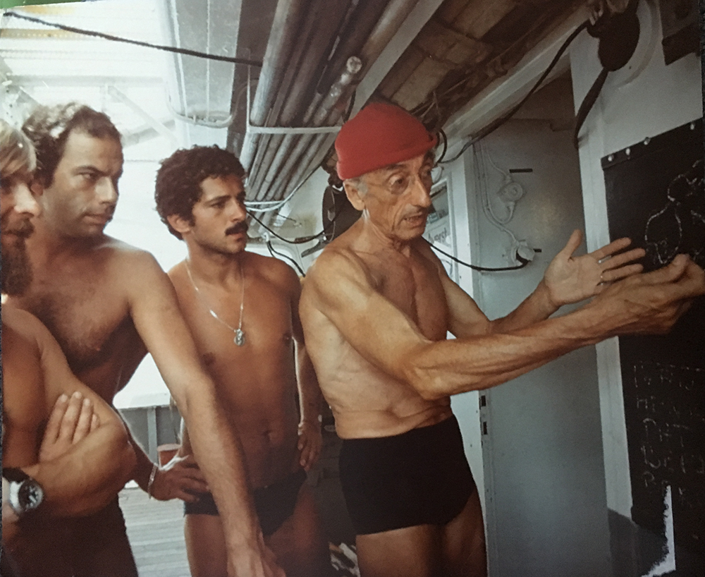 Cousteau and his team during the experiment